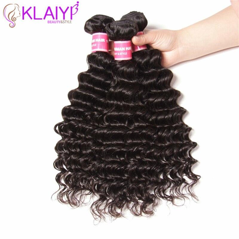 Klaiyi Hair Products Deep Wave Indian Hair Weave 3 Pieces Human Hair Bundles Tangle Free Remy Hair Extensions-in 3/4 Bundles from Hair Extensions & Wigs    1