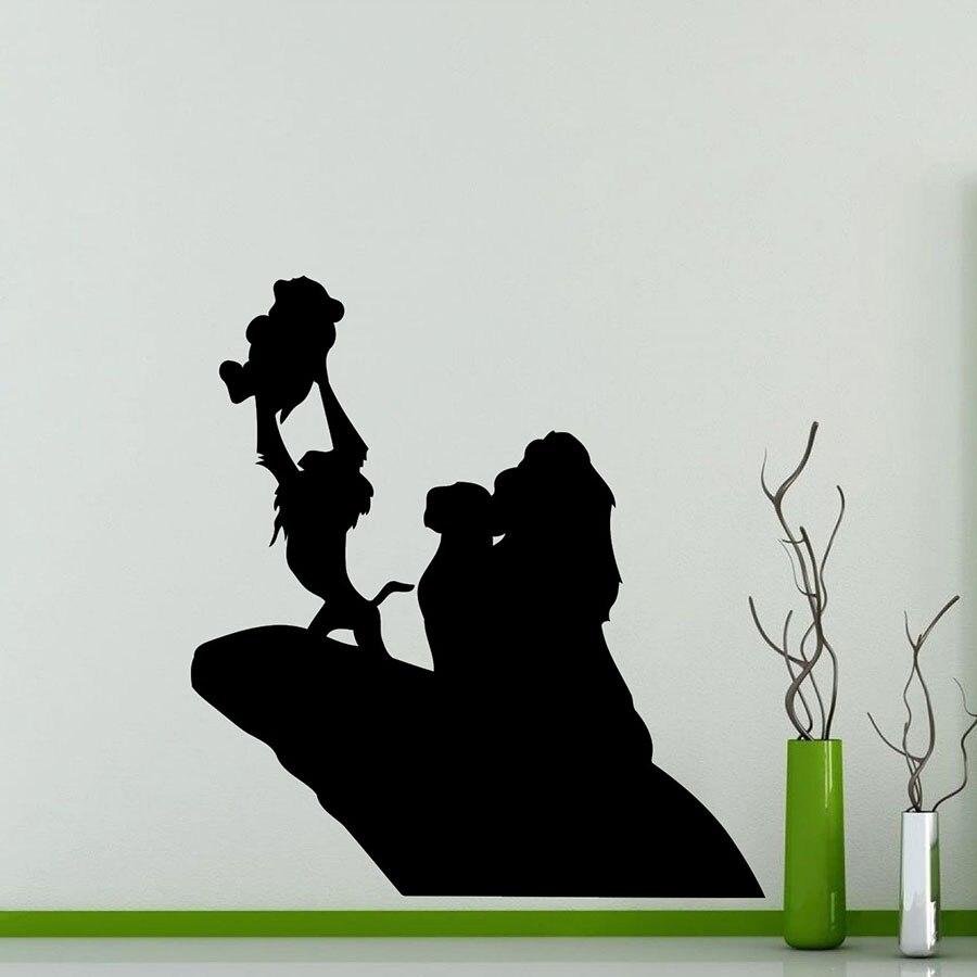 Lion King Silhouette Wall Sticker Cartoon Vinyl Decal Home Nursery Kids Room Interior Decoration Waterproof Art Mural S421 Wall Stickers Aliexpress