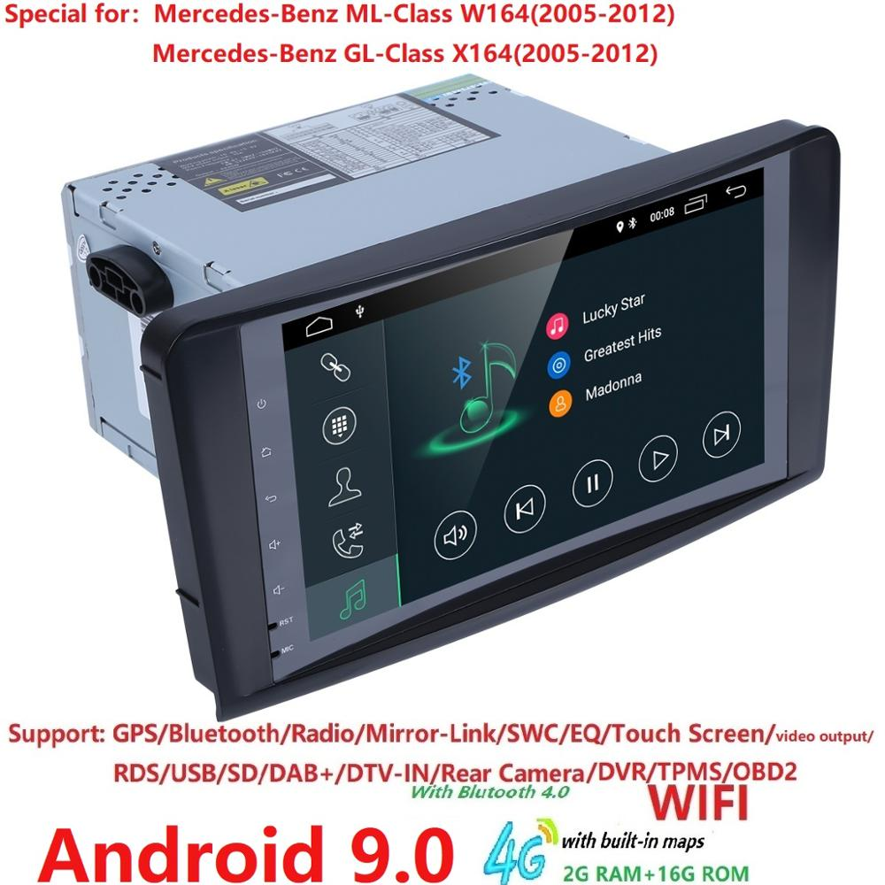 2din Car Radio gps Android 9.0 NO-DVD Multimedia Player for <font><b>Mercedes</b></font> Benz <font><b>ML</b></font> <font><b>W164</b></font> ML300 GL X164 GL320 <font><b>350</b></font> 420 450 500 R DSP OBD2 image
