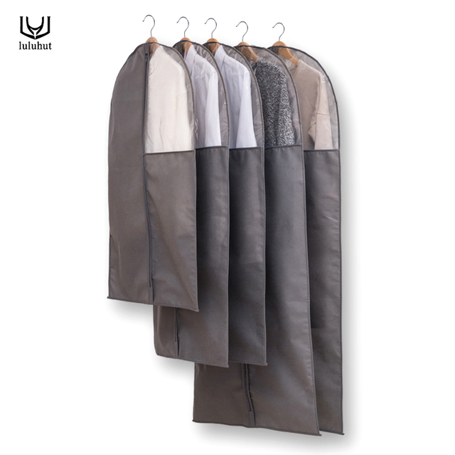 luluhut clothes dust cover grey color long cover bag with zipper big coat suit hanging bag with clear window clothes protector