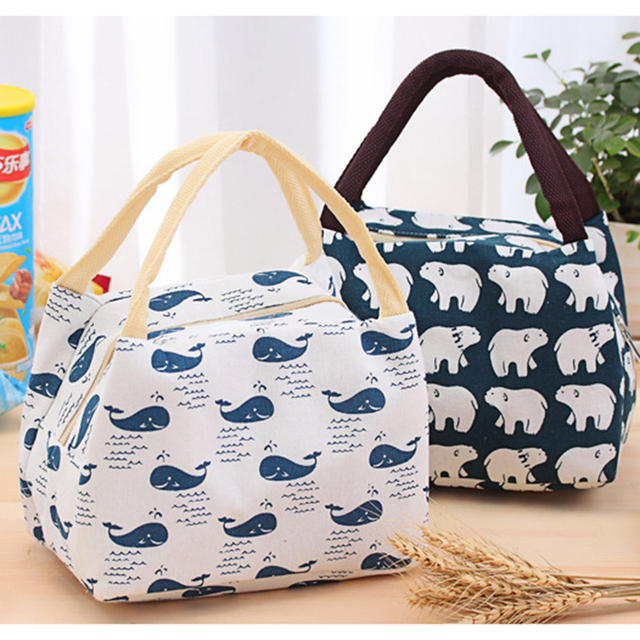 Lunch Portable Picnic Bag Outdoor Camping Equipment Cute Camping Bag Thermal Cooler Food Bags Tote Insulated Canvas For Hiking