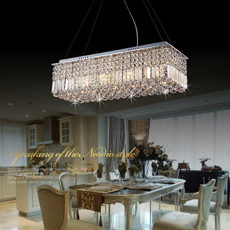 Long Size Rectangle Crystal Pendant Light Fitting Crystal Suspension Lamp  For Dining Room, Bedroom, Meetin In Pendant Lights From Lights U0026 Lighting  On ... Part 51