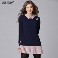 MUSENDA Plus Size Women Navy Blue Pleated Super Mini Dress 2018 Autumn Female Ladies Sweet Sexy Party School Dresses Clothing