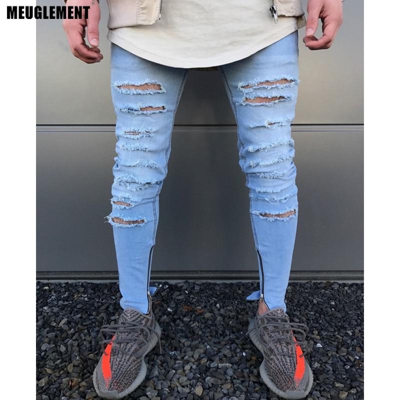 Hzijue 2018 Hi-street Men Knee Eversion Ripped Big Hole Men Jeans Streetwear Skateboard Straight Pants Man Casual Elastic Jeans Men's Clothing