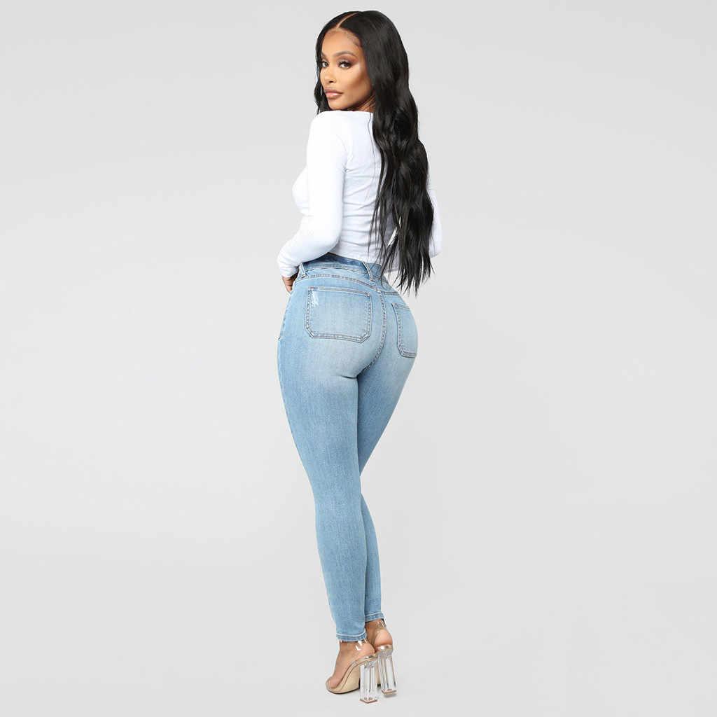 Хит продаж, джинсы-карандаш для женщин, винтажные джинсы с высокой талией, женские повседневные Стрейчевые обтягивающие джинсы, Femme Blue 7,15