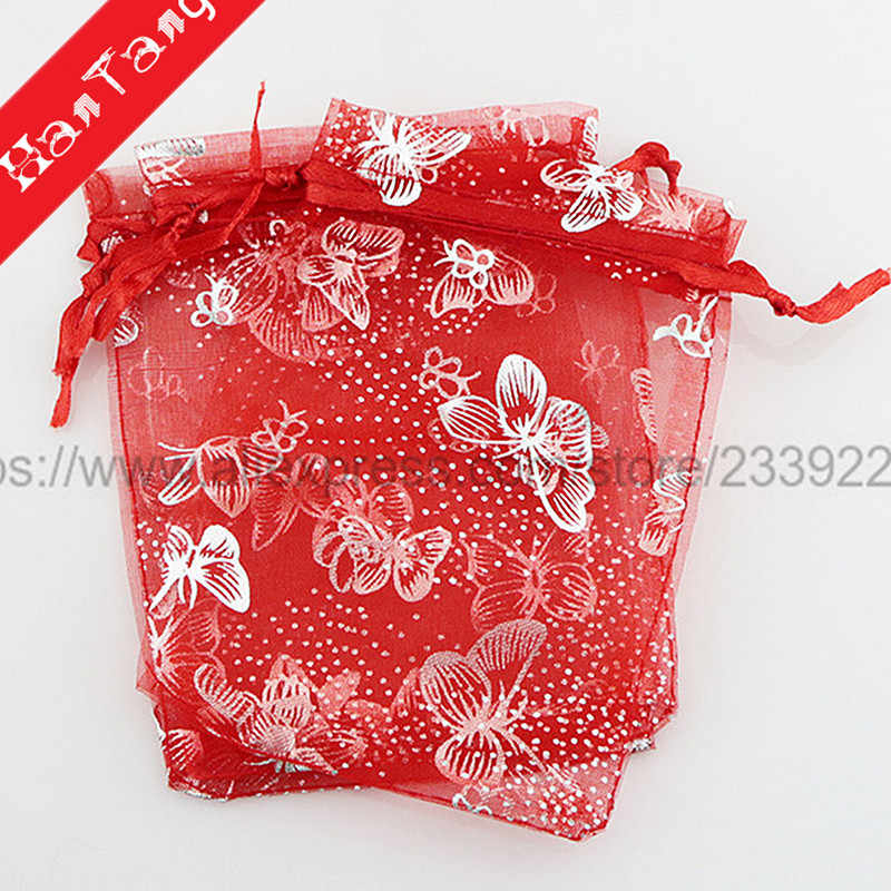 50 sztuk brązujący 7x9 9x12 11x16CM Organza opakowanie na biżuterię upominek torby Wedding Party dekoracje torby na prezenty saszetka woreczki 5Z