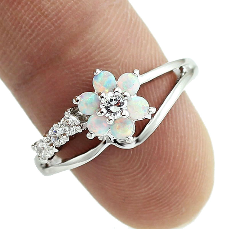 HAIMIS Tiny Cute White Fire Opal Stones Flower Women Opal Rings Maat 5 6 7 8 9 10 S11W