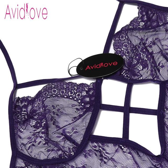 Avidlove Women Bodystocking Costumes One Piece Sexy Lingerie Bodysuit Halter Sheer Lace Teddy Nightwear 5