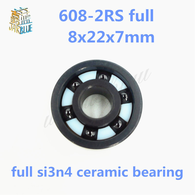 Free shipping 608-2RS full SI3N4 ceramic balls deep groove ball bearing 8x22x7mm full complent 608 2RS 10pcs 608 2rs 608rs 608 2rs 8mm x 22mm x 7mm black double rubber sealing cover deep groove ball bearing for hand spinner