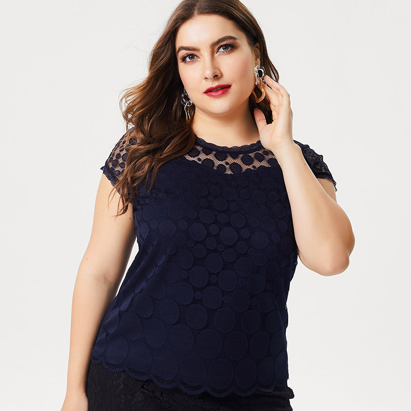 2019 summer new plus size women's clothing Lace Ladies Slim Short-sleeved T-shirt Fashion Ladies Solid Color shirt Tops
