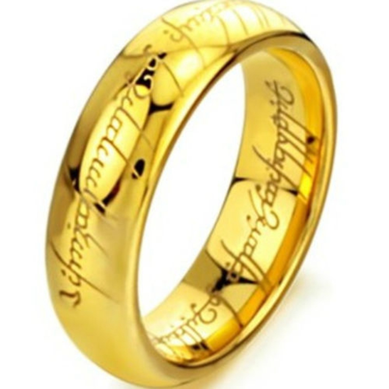 6MM Size 7 15Gold Plated Tungsten Carbide LOTR Lord of Ring Band