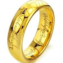 6mm tamaño 7-15 chapado en oro tungsten carburo lotr señor de anillo de la venda de boda de compromiso cocktail padre del marido regalos