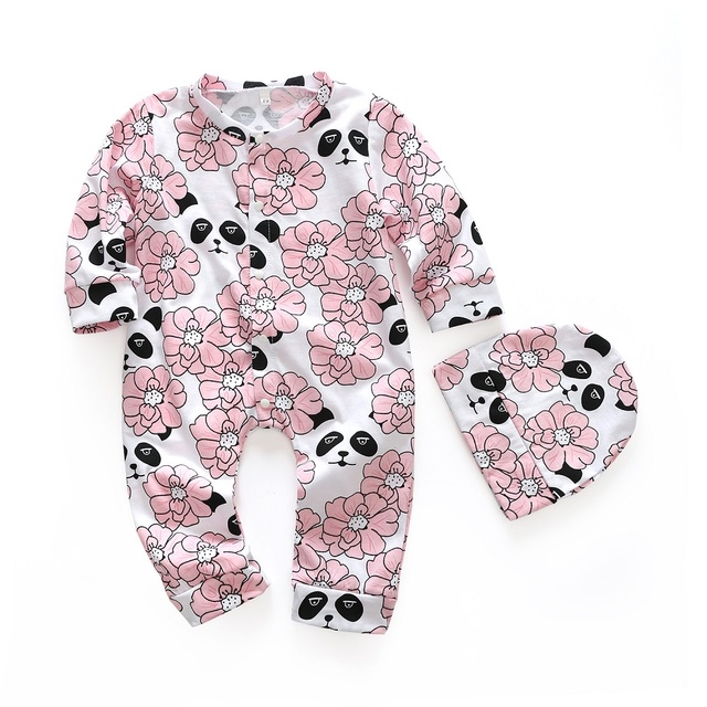caab483eb24f 2PCS Baby Romper Set 2018 New Spring Baby Girls Flower Printed Cotton Long  Sleeve Floral Jumpsuit +Hat Infant Clothing Suit