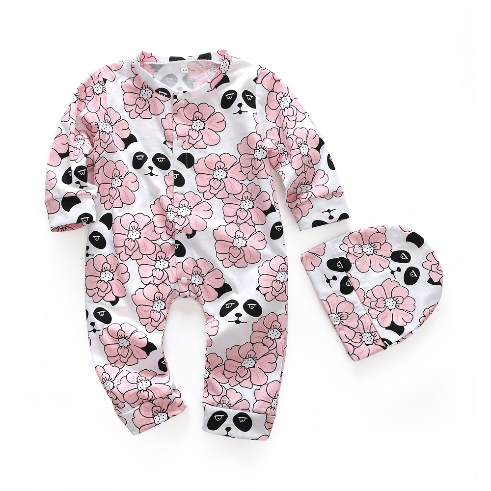 2PCS Baby Romper Set 2018 New Spring Baby Girls Flower Printed Cotton Long Sleeve Floral Jumpsuit +Hat Infant Clothing Suit