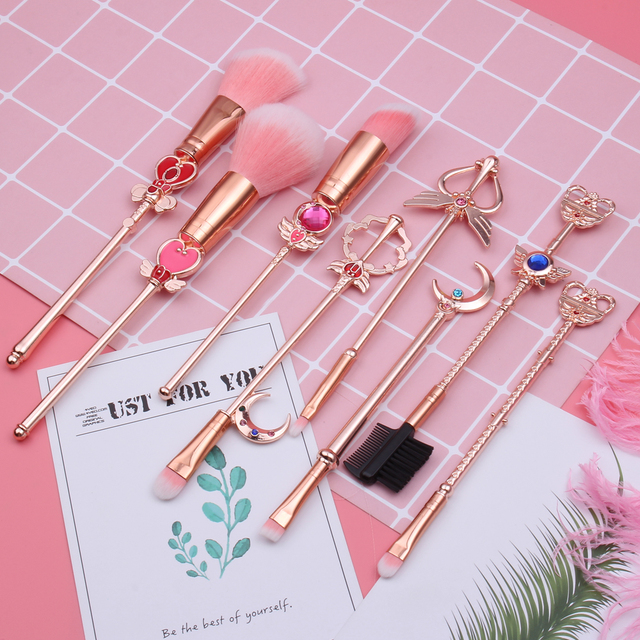 Hot Anime Cosmetic Makeup Brushes Set Tools Kit Eye Liner Shader Foundation Powder Natural-Synthetic Pink Hair 6