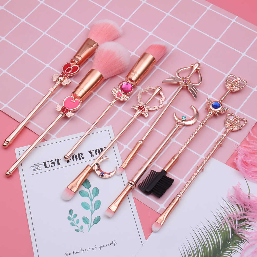 Hot Sailor Moon Kosmetik Kuas Makeup Brushes Set 8 Buah Alat Kit Eye Liner Shader Foundation Bubuk Alami Sintetis rambut Merah Muda