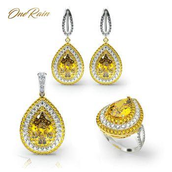 OneRain, conjuntos de 100% Plata de Ley 925 de lujo, collar/pendientes/anillos de piedras preciosas de citrino con forma de gota de agua, conjuntos de joyería al por mayor