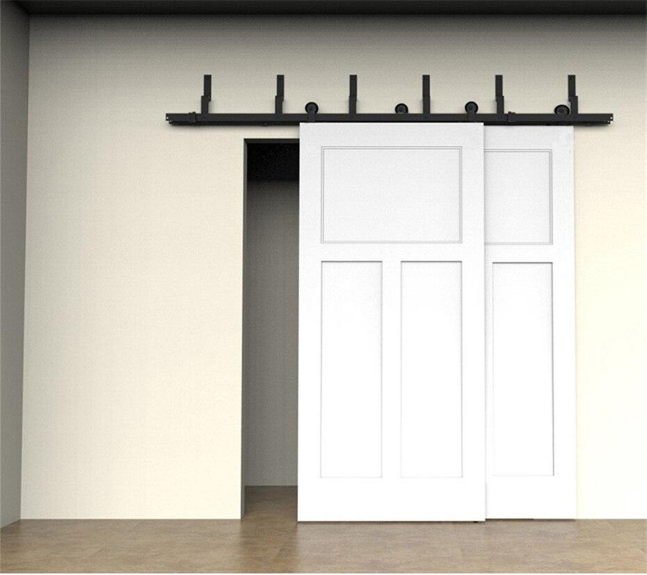6ft 8ft modern pendant style upper bypass double sliding door hardware indoor barn door pure steel sliding door hardware kit
