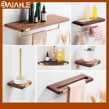 Bathroom Towel Holder Brass Wood Towel Rack Hanging Holder Wall Mounted Bathroom Shelf Organizer Creative Toilet Paper Holder solid brass bathroom towel rack single bar carved holder antique brass bathroom towel holder wall mounted