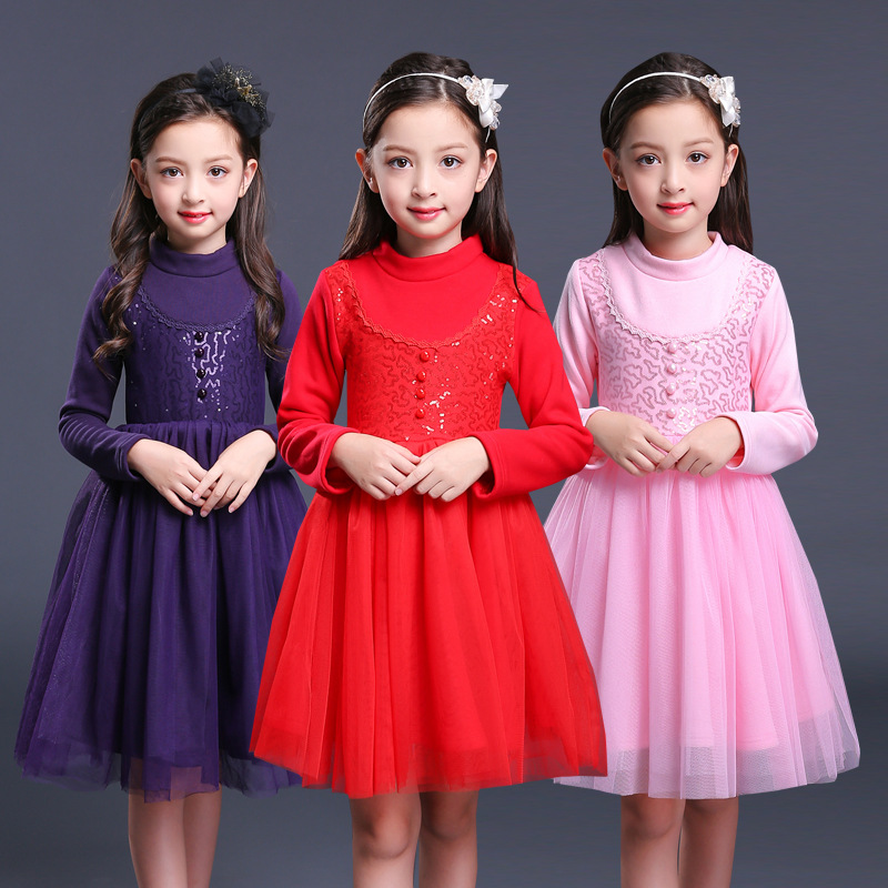 toddler baby girl winter dresses children girl long sleeve warm dress autumn winter 2017 for kids teenage girls party clothes new 2017 baby girls ruffle sweater dress kids long sleeve princess party christmas dresses autumn toddler girl children clothes