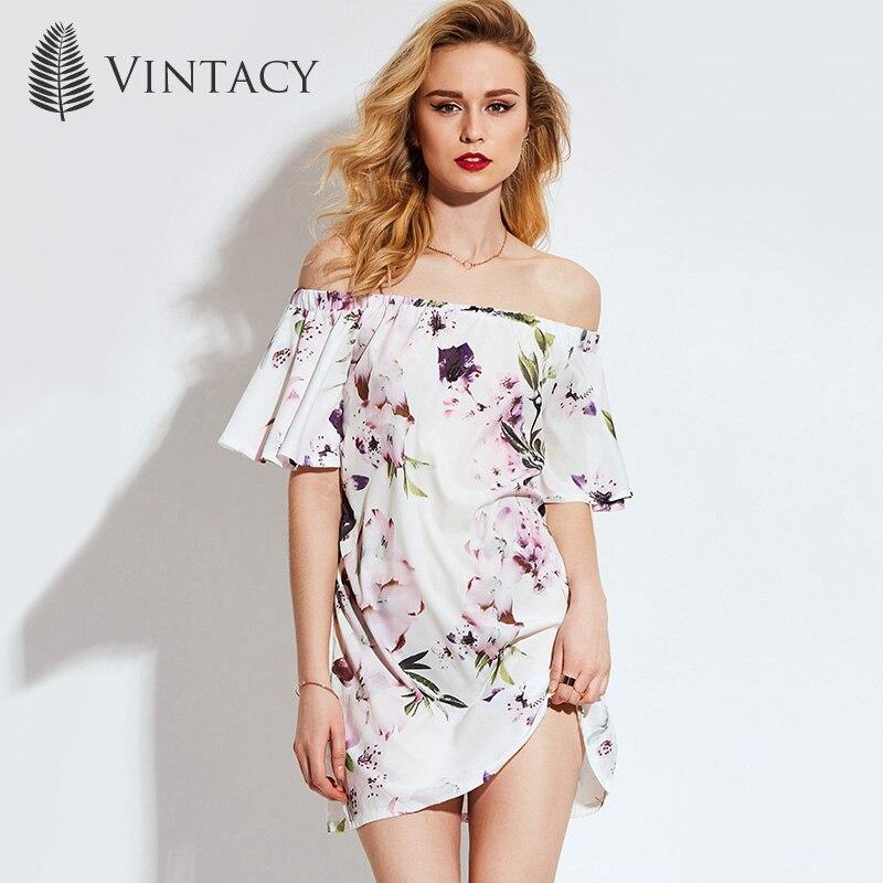 Vintacy plus tamaño de las mujeres blancas mini summer dress estampado floral va