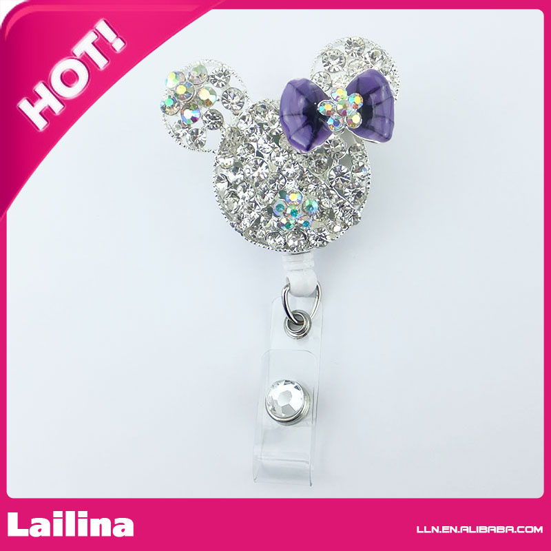 Cute Clear Rhinestone Purple Bow Minnie Mouse Head Retractable White ID Badge Holder