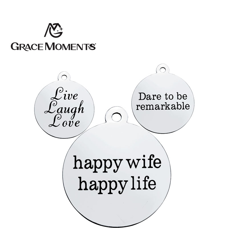 GRACE MOMENTS Stainless Steel 20MM Round Shape Stamped LOVE LAUGH LIVE Charm For DIY Jewelry Making Bracelet Necklace