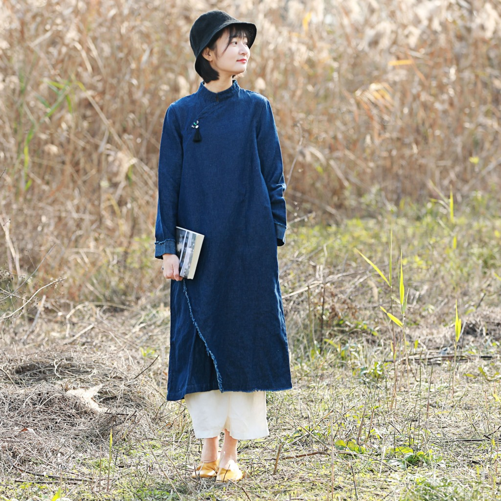 Literary Original Cotton Linen Spring New Denim Linen Chinese-style Improved Long Sleeve Cheongsam Fur Dress