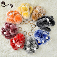 Double Color Cute Animal Fluffy Bunny Keychain 8 color 13-15 cm Real Plush Rabbit Fur Key Chain Women Doll Bag Charms Gift kce