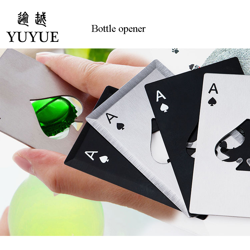 Stainless Steel Poker A Bottle Opener 2018 New Design Originality Corkscrew Bottle Openers  EDC Tool Playing Card A For Camping 0