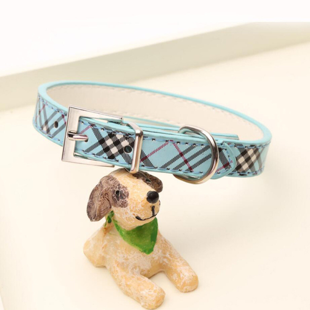 Fashion Plaid Dog Collar Durable Adjustable Pu Leather Pet Puppy Collars Mascotas Cachorro Necklace Perro Gato Collar Bone Widge by Miss Doggy