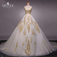2017 Robe de Soiree White and Gold Long Prom Dresses Real Photo Puffy Tulle Sweetheart Appliques Formal Evening Dress