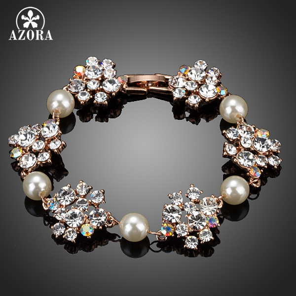 AZORA Gorgeous Rose Gold Color Clear Stellux Austrian Crystal Flower Interweave Pearl Charm Bracelet TS0046