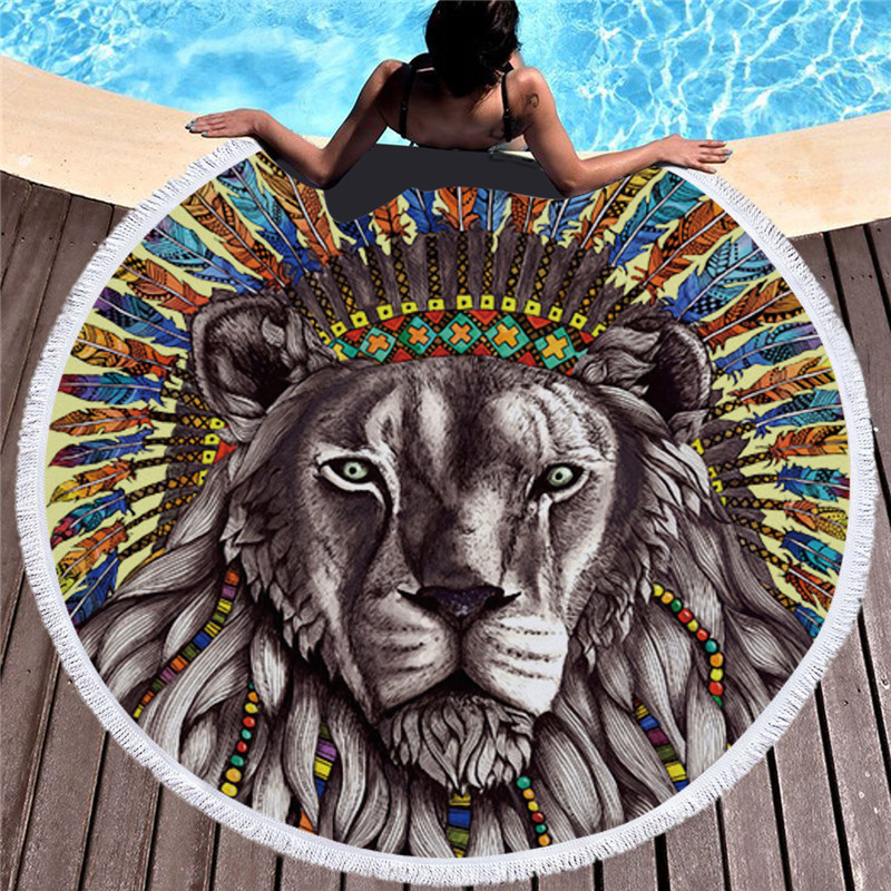 Yoga Towel Tiger: Bohemia Large Lion Round Beach Towel For Adult Kids Yoga