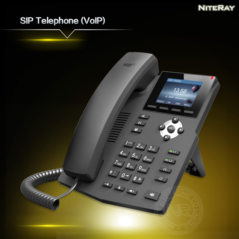 IP Phone 2 SIP Lines HD Voice Enterprise VoIP Telephone With Intelligent LCD Display