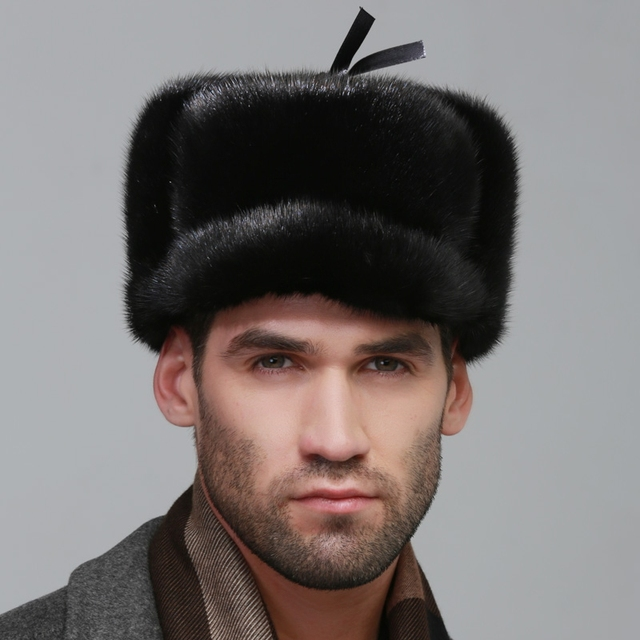 men ear muffs rex mink fur muffs Russian style cap winter Super warm snow show autumn male luxur fur hat hair handsome fur