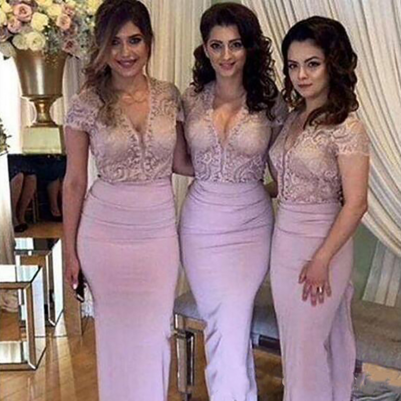 2019   Bridesmaid     Dresses   Lace V Neck Short Sleeves Prom Party Gowns Long Sheath Chiffon Wedding Guest   Dresses
