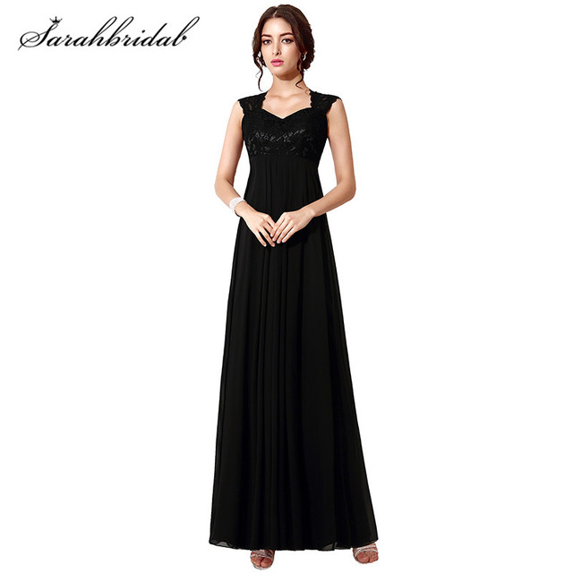 Charming Elegant Black Long Prom Dress Chiffon Sleeveless Floor ...