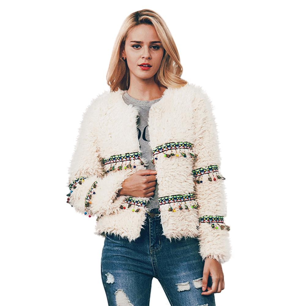 Ethnic Style Fringe Faux Fur Coat Warm Winter Coat Plus Size L-3XL Women Fashion Fluffy Shaggy Cardigan Bomber Jacket Lady Coat