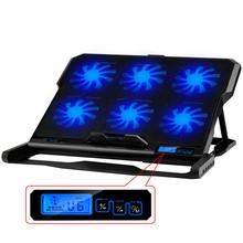 SeenDa Laptop Cooling Pad 6 Cooling Fans and Double USB Ports Laptop Cooler with Light LCD Display Notebook Stand for 12-16 inch