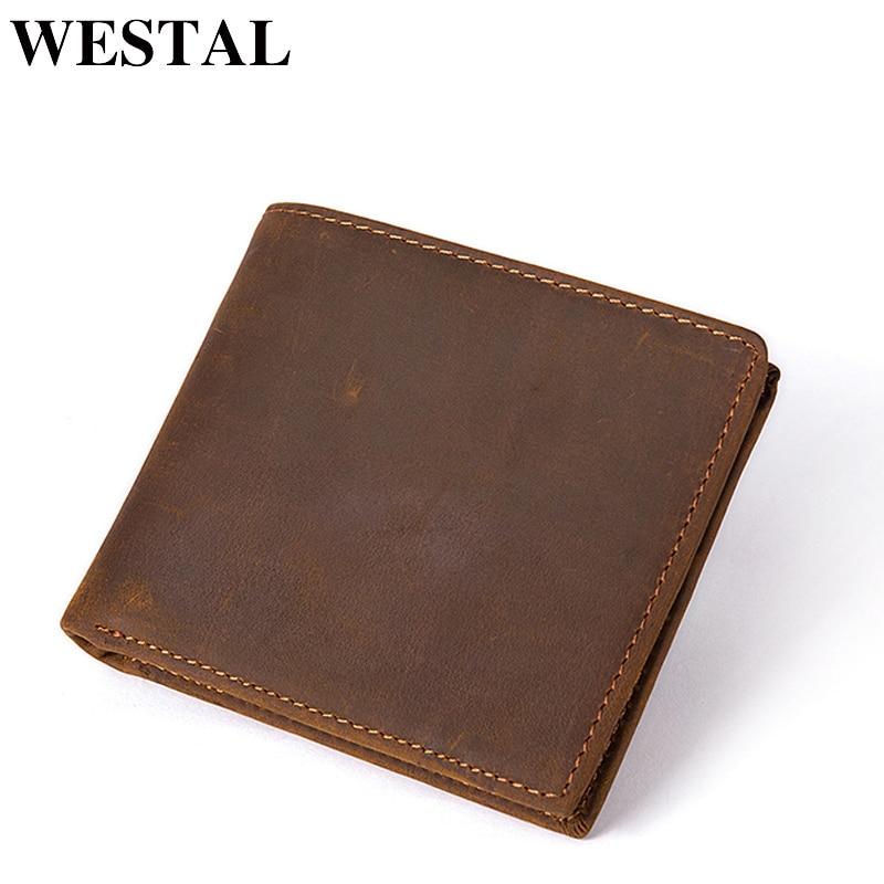 WESTAL Wallet Purse Genuine-Leather Cards Short-Design Money Men Male Men's Slim/small