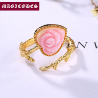 2019 Adjustable Ring 100% Real 925 Sterling Silver fine Jewelry Women Mosaic Queen Shell Heart Opening Wedding mood Ring YR12
