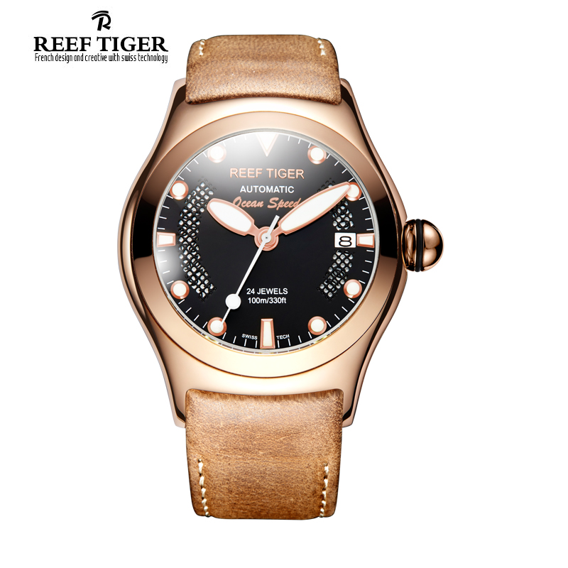 Reef Tiger/RT Sport Casual Watches for Men Rose Gold Big Skeleton Dial with Date Luminous Self-winding Wrist Watches RGA704 2x yongnuo yn600ex rt yn e3 rt master flash speedlite for canon rt radio trigger system st e3 rt 600ex rt 5d3 7d 6d 70d 60d 5d