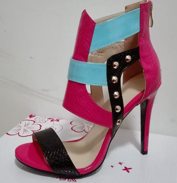 Sexy Summer Women Punk Metal Rivets Studs Mixed Colors Patent Leather Patched Sandals Thin High Heels Cut out Zip Sandal Shoes
