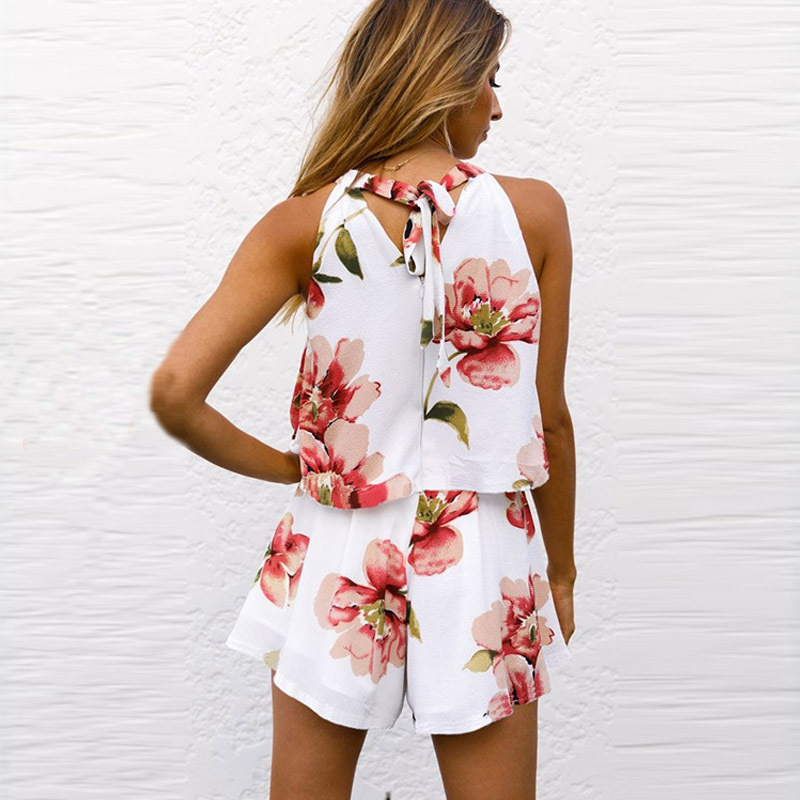 Women Set Sexy 2 Pieces Set Floral Printed Mini Dress And Cropped Halter Top Fashion 2019 Summer Female Shorts Sets 311Y