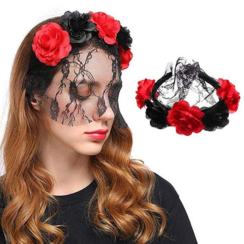 Ladys flower Halloween Rose headwear The Dead  Fancy Party Adults hairbands