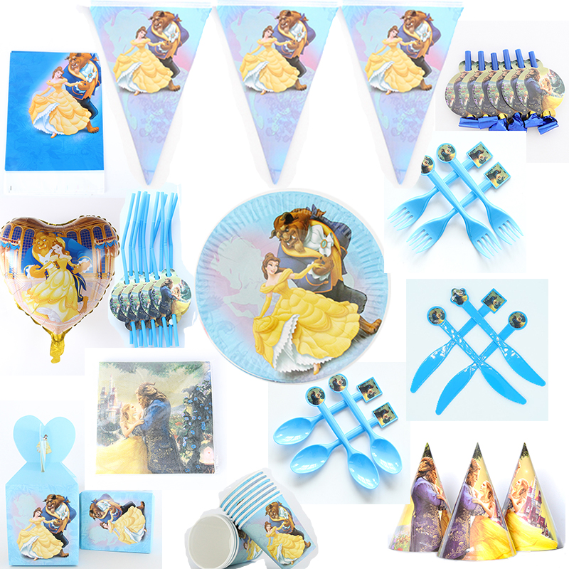 Beauty And The Beast Cartoon Theme Party Disposable Tableware Sets Paper Plate/cup/napkin Baby Shower Kids Birthday Party Supply
