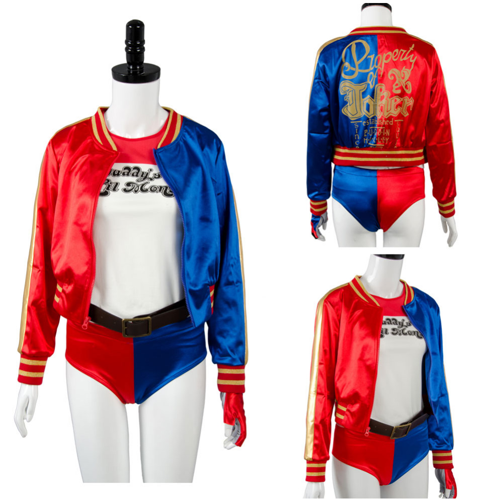 Batman Suicide Squad Harley Quinn Cosplay Costume Jacket T-Shirt Shorts Belt Gloves