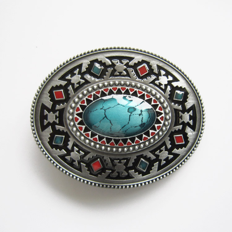 Jeansfriend New Vintage American Southwest Cross Totem Pattern Oval Belt Buckle Gurtelschnalle Boucle De Ceinture