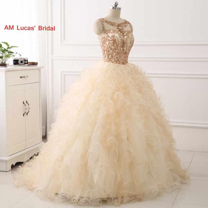 c299135268a13b5 ... Новый Шампанское Quinceanera платье бальное платье бисером Стразы  длинные сладкий 16 лет вечерние платья Vestido De ...